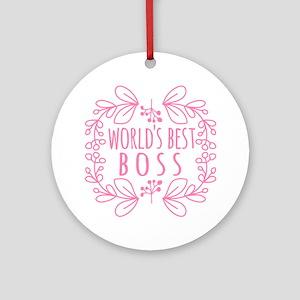 Cute Pink World's Best Boss Ornament (Round)