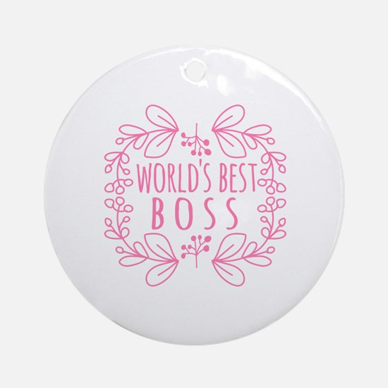 Cute Pink World's Best Boss Ornament (Round)