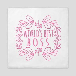 Cute Pink World's Best Boss Queen Duvet