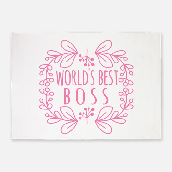 Cute Pink World's Best Boss 5'x7'Area Rug