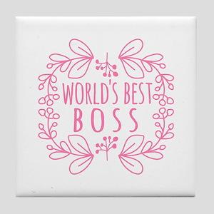 Cute Pink World's Best Boss Tile Coaster