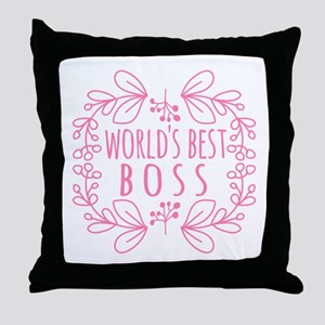 Cute Pink World's Best Boss Throw Pillow