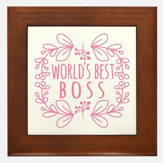 Cute Pink World's Best Boss Framed Tile