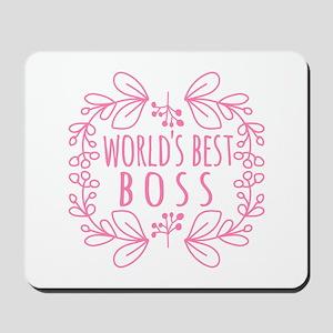 Cute Pink World's Best Boss Mousepad
