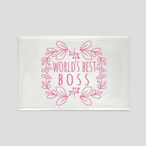 Cute Pink World's Best Boss Rectangle Magnet