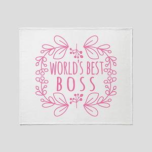 Cute Pink World's Best Boss Throw Blanket