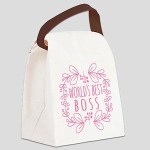 Cute Pink World's Best Boss Canvas Lunch Bag