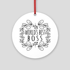 Cute Black World's Best Boss Ornament (Round)