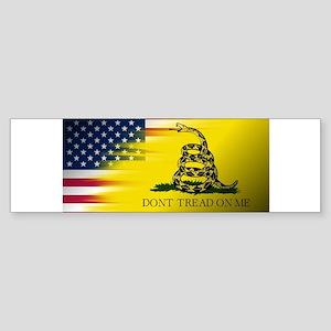 American Flag/Don't tread on Me Bumper Sticker