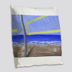 Beach Volleyball Burlap Throw Pillow
