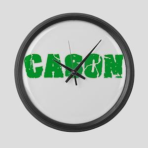 Cason Name Weathered Green Design Large Wall Clock