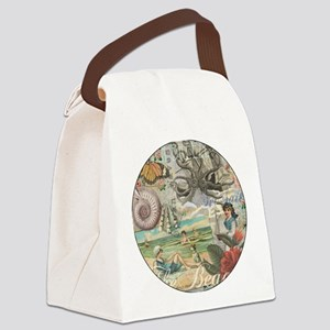 Vintage Victorian Beach Retro Sum Canvas Lunch Bag