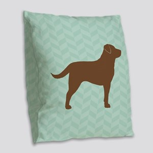 Chocolate Lab Burlap Throw Pillow