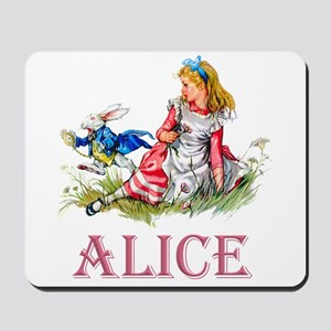 Alice and the White Rabbit Mousepad