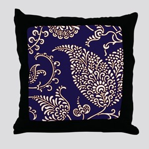 navy blue paisley floral print patter Throw Pillow