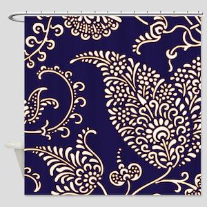 navy blue paisley floral print patt Shower Curtain
