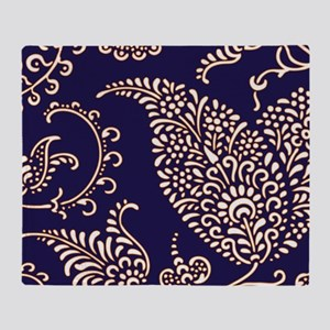 navy blue paisley floral print patte Throw Blanket