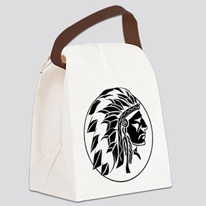 Indian Chief Head Canvas Lunch Bag