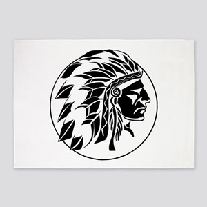 Indian Chief Head 5'x7'Area Rug