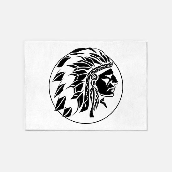 Indian Chief Head 5'x7'Area Rug