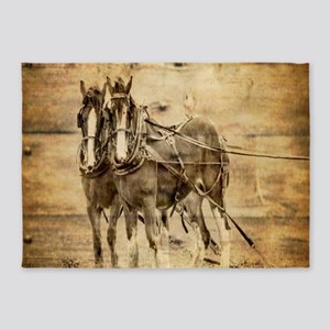 western country farm horse 5'x7'Area Rug