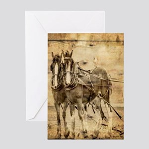 western country farm horse Greeting Cards