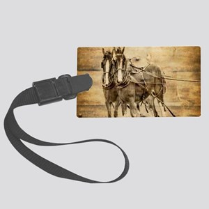 western country farm horse Large Luggage Tag