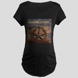 western horseshoe texas star Maternity T-Shirt