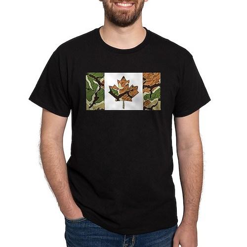 Canadian Flag Camo Brown & Green Woodland T-Shirt