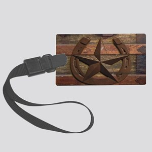 western horseshoe texas star Large Luggage Tag