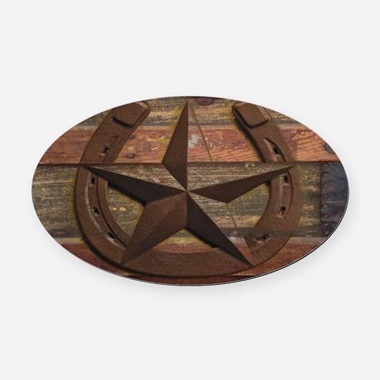 western horseshoe texas star Oval Car Magnet
