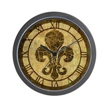 Vintage Worn Fleur De Lis Wall Clock