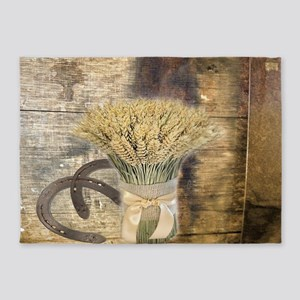 barn wood wheat horseshoe 5'x7'Area Rug