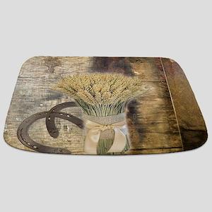 barn wood wheat horseshoe Bathmat