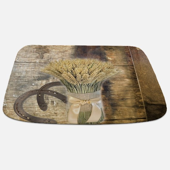 barn wood wheat horseshoe Bathmat
