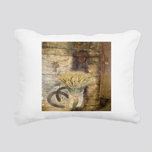 barn wood wheat horsesho Rectangular Canvas Pillow