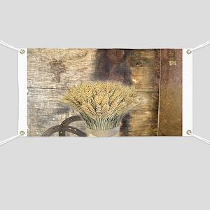 barn wood wheat horseshoe Banner