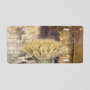 barn wood wheat horseshoe Aluminum License Plate