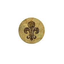 Vintage Worn Fleur De Lis Mini Button