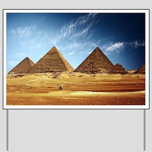 Egyptian Pyramids and Camel Yard Sign