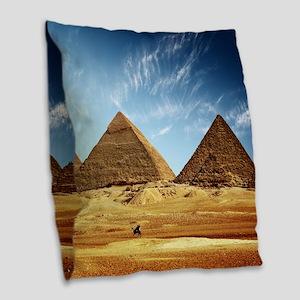 Egyptian Pyramids and Camel Burlap Throw Pillow