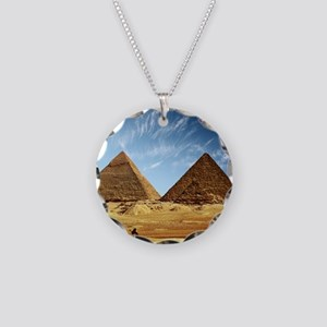 Egyptian Pyramids and Camel Necklace Circle Charm