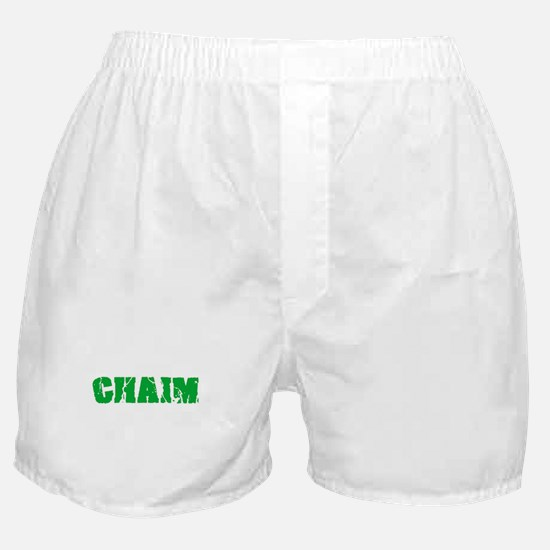 Chaim Name Weathered Green Design Boxer Shorts