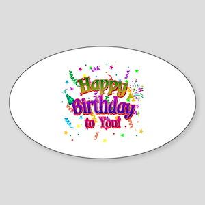 Happy Birthday To You Sticker (Oval)