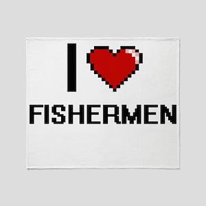 I love Fishermen Throw Blanket