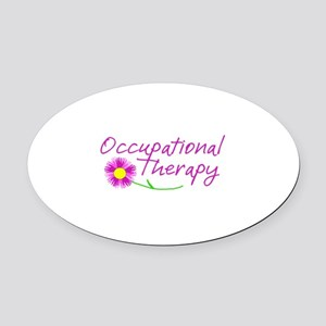 Occupational Therapy Hand Flower Oval Car Magnet