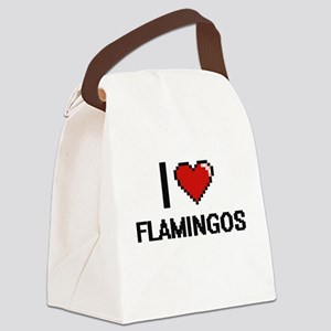I love Flamingos Canvas Lunch Bag