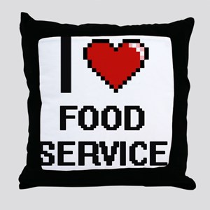 I love Food Service Throw Pillow