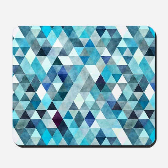 Watercolor Triangles Blue Mousepad