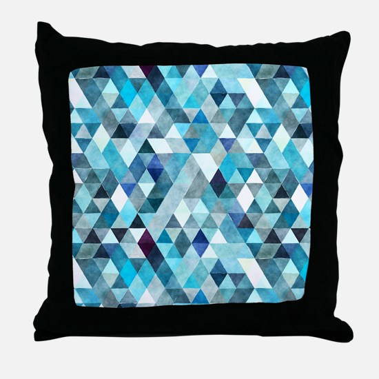 Watercolor Triangles Blue Throw Pillow